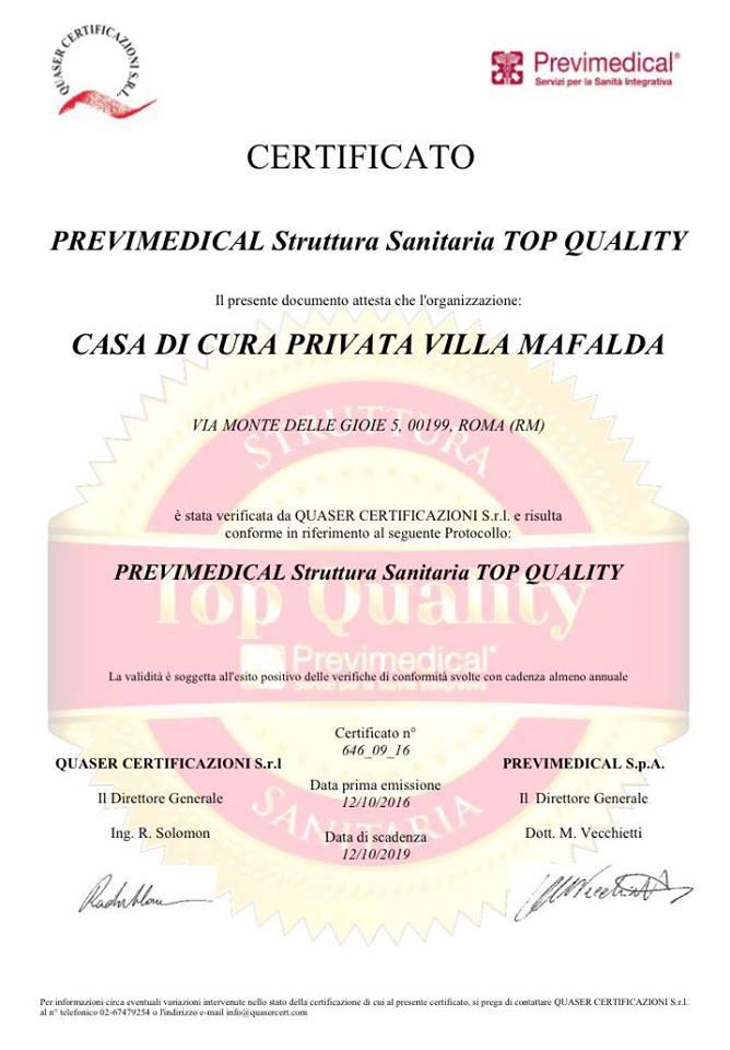 Villa Mafalda, certificazione TOP Quality